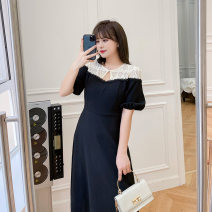 Women's large Summer 2021 Black / Collection Plus Priority Shipping Large XL, 2XL, 3XL, 4XL Dress singleton  commute easy thin Conjoined Short sleeve Korean version Crew neck Three dimensional cutting bishop sleeve L12ML20371 Mu Ling 25-29 years old zipper Medium length Pleated skirt