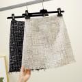 skirt Autumn 2020 S,M,L,XL Black, off white, dark grey Short skirt commute High waist A-line skirt lattice Type A 91% (inclusive) - 95% (inclusive) other other Tassel, zipper Korean version