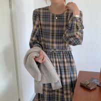 Dress Winter 2020 lattice Average size Mid length dress singleton  Long sleeves commute Crew neck High waist lattice other 18-24 years old Type A Korean version 31% (inclusive) - 50% (inclusive) cotton