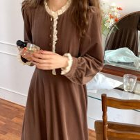 Dress Spring 2021 Black, taffy Average size longuette singleton  Long sleeves commute Crew neck High waist Solid color Socket A-line skirt puff sleeve 18-24 years old Korean version Splicing 31% (inclusive) - 50% (inclusive) polyester fiber