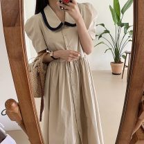 Dress Winter 2020 Khaki Average size Mid length dress singleton  Long sleeves commute V-neck High waist Solid color Socket A-line skirt routine 18-24 years old Other / other Korean version 51% (inclusive) - 70% (inclusive) polyester fiber