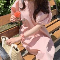 Dress Summer 2021 Pink Average size Middle-skirt singleton  Short sleeve Sweet Crew neck Loose waist stripe Socket other bishop sleeve 18-24 years old Type H pocket 31% (inclusive) - 50% (inclusive)