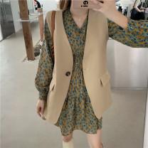 Vest Autumn 2020 Suit vest, dress, Vest + dress S,M,L,XL routine V-neck commute Solid color A button 18-24 years old polyester fiber Button