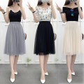 skirt Spring 2021 S,M,L,XL Black, grey, apricot Mid length dress Versatile High waist Pleated skirt Solid color Type A 18-24 years old 30% and below other other Gauze 201g / m ^ 2 (including) - 250G / m ^ 2 (including)