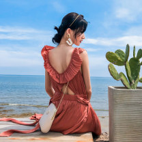 Dress Spring 2020 Red bean paste S M L Mid length dress singleton  Sleeveless Sweet Lotus leaf collar Elastic waist Solid color Socket A-line skirt Others 18-24 years old Type A BLUESTREAK Ⅱ Lace up zipper with open back and ruffle More than 95% polyester fiber Polyester 100% Bohemia