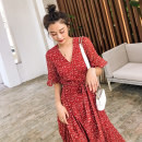 Dress Summer 2020 gules S M L Mid length dress singleton  elbow sleeve commute V-neck middle-waisted Broken flowers other A-line skirt Lotus leaf sleeve Others 18-24 years old Type A BLUESTREAK Ⅱ Retro Lace up printing with ruffles 9610A More than 95% Chiffon polyester fiber