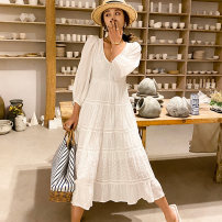 Dress Spring 2021 White yellow S M L longuette singleton  three quarter sleeve Sweet V-neck High waist Solid color Socket A-line skirt routine 18-24 years old Type A BLUESTREAK Ⅱ Splicing More than 95% Chiffon cotton Cotton 100% Bohemia Pure e-commerce (online only)
