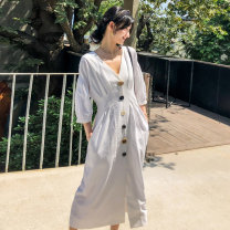 Dress Spring 2020 white S M L Mid length dress singleton  three quarter sleeve commute V-neck middle-waisted Solid color Single breasted A-line skirt raglan sleeve Others 18-24 years old Type A BLUESTREAK Ⅱ Retro Pleated button 30% and below nylon Viscose (viscose) 88% polyamide (nylon) 12%