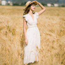 Dress Summer of 2018 white S M L Mid length dress singleton  Sleeveless Sweet V-neck middle-waisted Solid color Socket A-line skirt Lotus leaf sleeve Others 25-29 years old BLUESTREAK Ⅱ Ruffle embroidered pleated button More than 95% cotton Cotton 100% Bohemia