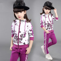 suit Other / other female spring and autumn leisure time Long sleeve + pants 2 pieces routine There are models in the real shooting Zipper shirt No detachable cap other cotton elder Learning reward Class B Cotton 95% polyester 5% 2, 3, 4, 5, 6, 7, 8, 9, 10, 11, 12 years old Chinese Mainland