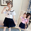 suit Other / other White, pink 110cm,120cm,130cm,140cm,150cm,160cm female spring and autumn leisure time Short sleeve + pants 2 pieces routine There are models in the real shooting Socket nothing other cotton children Expression of love Academic atmosphere Class B Cotton 85% polyester 15% Huzhou City