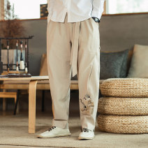Casual pants Others Youth fashion Grey, black, khaki M,L,XL,2XL,3XL,4XL,5XL routine trousers Other leisure easy No bullet spring Large size Chinese style 2021 Medium low back Straight cylinder Viscose 75% cotton 25% Haren pants Embroidery Animal design Cotton and hemp