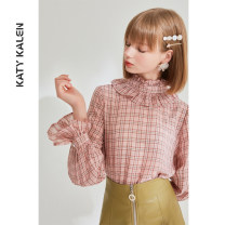 shirt Pink S1 M1 L1 S M L Autumn of 2019 polyester fiber 91% (inclusive) - 95% (inclusive) Long sleeves commute Regular stand collar Socket pagoda sleeve lattice 25-29 years old Straight cylinder Katy kalen Korean version YM167 Auricular button Polyester 91% viscose 9% Pure e-commerce (online only)