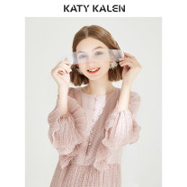 Dress Spring of 2019 Pink Mid length dress singleton  Long sleeves commute Crew neck High waist Dot Single breasted Pleated skirt pagoda sleeve 25-29 years old Type X Katy kalen Korean version Ruffle pleated auricular button More than 95% Chiffon polyester fiber Polyester 100%