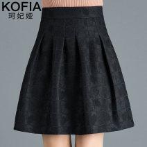 skirt Spring 2021 M L XL 2XL 3XL 4XL black Short skirt Versatile High waist A-line skirt Type A 30-34 years old WC-JYM-89123 Cofeya