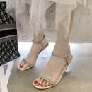 Sandals 35 36 37 38 39 Black Beige PU Mo Yun Barefoot Thick heel High heel (5-8cm) Summer 2021 Flat buckle Korean version Solid color Adhesive shoes Youth (18-40 years old) rubber daily Back space Roman style Low Gang Lateral space PU PU zg002508 Flat buckle Pure e-commerce (online only)