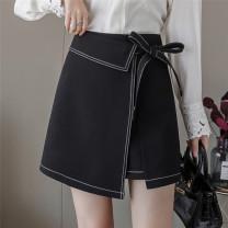 skirt Autumn 2020 M,L,XL,2XL,3XL,4XL black Short skirt Versatile High waist A-line skirt Solid color Type A 71% (inclusive) - 80% (inclusive) other nylon Bandage, open line decoration