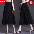 skirt Spring 2021 Average size (85-140 kg) Zs-9079 black zs-9079 gray zs-9079 apricot zs-9079 green Mid length dress commute High waist Pleated skirt Solid color Type A ON-ZS5522 Onoev Pleated lace Korean version