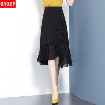 skirt Summer 2021 20/M L/21 XL/22 XXL/23 XXXL/24 XXXXL/25 Lml1812 black lml1812 blue Mid length dress commute High waist skirt Solid color Type H ON-LML1812 Onoev Asymmetric stitching of ruffles Korean version