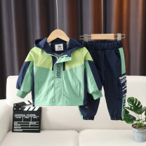 suit Yellow, green 90cm,100cm,110cm,120cm,130cm,140cm male spring and autumn Korean version Long sleeve + pants 2 pieces routine No model Zipper shirt No detachable cap letter Cotton blended fabric children Giving presents at school Class A Other 100% Chinese Mainland Zhejiang Province Huzhou City
