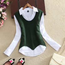 Wool knitwear Spring 2020 S,M,L,XL Long sleeves Two piece set Socket acrylic fibres 30% and below Regular routine commute Self cultivation V-neck routine Solid color Socket Korean version Women's fashion 18-24 years old