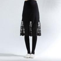 skirt SZ5314 Medium length Original design Average size spring and autumn Green Lip black Solid color SZ5314 polyester