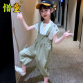 suit Cherish children Yellow green 110cm 120cm 130cm 140cm 150cm 160cm female summer college Short sleeve + pants 2 pieces routine There are models in the real shooting Socket nothing Solid color Cotton blended fabric children Giving presents at school XT20CT2098 Class B Summer 2021 Chinese Mainland