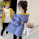 Plain coat Cherish children female 110cm 120cm 130cm 140cm 150cm 160cm 165cm 170cm Yellow with purple powder blue sky light yellow blue spring and autumn leisure time Zipper shirt There are models in the real shooting routine No detachable cap Solid color Cotton blended fabric XT19QS5152 Class C