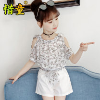 suit Cherish children White pink 110cm 120cm 130cm 140cm 150cm 160cm female summer Short sleeve + pants 2 pieces There are models in the real shooting Socket Class B Polyester 100% Summer 2021 Chinese Mainland