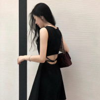 Dress Summer 2021 Black, recommended for collection, small gift for additional purchase S,M,L,XL Short skirt singleton  Sleeveless commute Crew neck High waist Solid color zipper A-line skirt Hanging neck style Type A backless