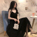 Dress Summer 2021 Black, recommended for collection, small gift for additional purchase S,M,L,XL longuette singleton  Sleeveless commute V-neck High waist Solid color zipper Irregular skirt camisole Type A Splicing, mesh Netting