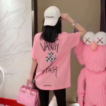 T-shirt Youth fashion Pink routine S,M,L,XL Chaokeluoxin Short sleeve Crew neck standard Other leisure summer youth routine tide other 2020 other printing cotton The thought of writing No iron treatment 90% (inclusive) - 95% (inclusive)