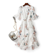 Women's large Summer 2021 Picture white Dress singleton  commute Self cultivation thin Socket elbow sleeve Plants and flowers Korean version V-neck polyester fiber Three dimensional cutting Lotus leaf sleeve 25-29 years old tie-dyed Medium length Lotus leaf edge