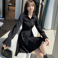 Dress Autumn 2020 black S M L XL Short skirt singleton  Long sleeves commute V-neck High waist Solid color Socket A-line skirt pagoda sleeve Others 25-29 years old Type A Yiduobao Korean version Stitching three-dimensional decorative button zipper YDB-C092 More than 95% other Other 100%