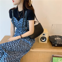 Dress Summer 2021 Picture color Average size Mid length dress singleton  Sleeveless commute High waist Leopard Print A-line skirt routine 18-24 years old Type A Korean version 30% and below cotton
