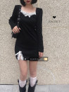 Dress Spring 2021 black S,M,L Short skirt singleton  Long sleeves commute square neck High waist Solid color Socket other puff sleeve Others 18-24 years old Korean version 30% and below