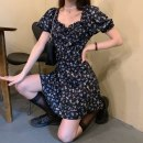 Dress Summer 2021 Picture color S,M,L Short skirt singleton  Short sleeve commute square neck High waist Broken flowers Socket A-line skirt puff sleeve 18-24 years old Type A Korean version Ruffles, lace up, print 30% and below other