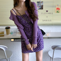 Dress Spring 2021 Purple cardigan, suspender skirt Average size Short skirt Sleeveless Sweet One word collar Broken flowers Socket camisole 18-24 years old 30% and below