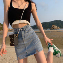 skirt Summer 2021 S,M,L Blue, black Short skirt commute High waist A-line skirt Solid color Type A 18-24 years old 30% and below other other Korean version
