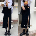 skirt Summer 2021 S,M,L,XL Blue, black Mid length dress commute High waist Denim skirt Solid color Type A 18-24 years old 30% and below Korean version