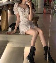 Dress Summer 2021 Dress S, M Short skirt singleton  Short sleeve commute V-neck High waist Solid color A-line skirt 18-24 years old Type A Korean version backless 30% and below other