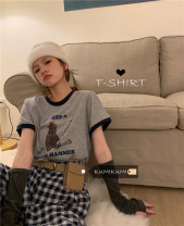 T-shirt Grey, white Average size Summer 2021 Short sleeve Crew neck easy Regular routine commute cotton 30% and below 18-24 years old Korean version originality Cartoon, animation, letters