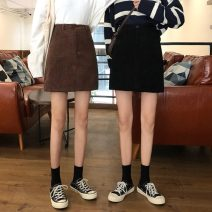 skirt Spring 2021 S,M,L Brown, black Short skirt commute High waist skirt Solid color Type A 18-24 years old 30% and below Korean version