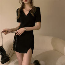 Dress Summer 2021 black Average size Middle-skirt singleton  Short sleeve commute V-neck High waist Solid color routine 18-24 years old Korean version 30% and below other