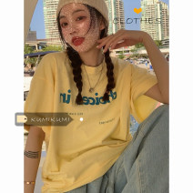 T-shirt White, black, water blue, egg yellow Average size Summer 2021 Short sleeve Crew neck easy Medium length routine commute cotton 30% and below 18-24 years old Korean version youth letter