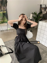 Dress Spring 2021 black Average size Mid length dress singleton  Short sleeve commute square neck High waist Solid color routine 18-24 years old Type A Korean version 30% and below other