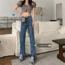 Jeans Spring 2021 Blue, black S,M,L trousers High waist Straight pants routine 18-24 years old Dark color 30% and below