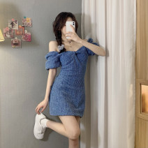 Dress Summer 2021 sky blue S,M,L singleton  Short sleeve commute square neck High waist Solid color zipper A-line skirt puff sleeve Others 18-24 years old Type A Korean version 30% and below Denim cotton