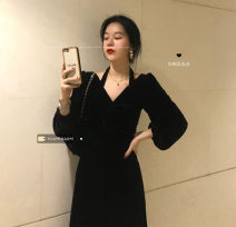 Dress Spring 2021 black M, L Mid length dress singleton  Long sleeves commute V-neck High waist Solid color Socket A-line skirt 18-24 years old Type A Korean version 30% and below other