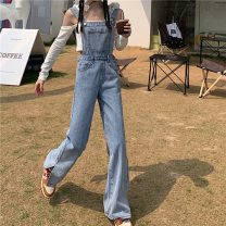 Jeans Summer 2021 Dark blue, light blue S,M,L trousers High waist Straight pants routine 18-24 years old other other light colour 30% and below